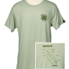 Spyderco Knife Anatomy T-Shirt - Heather Green Front Side With Back Graphic Close Up