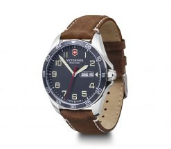 Victorinox - Fieldforce - Brown Leather Strap Front Side Angled Left