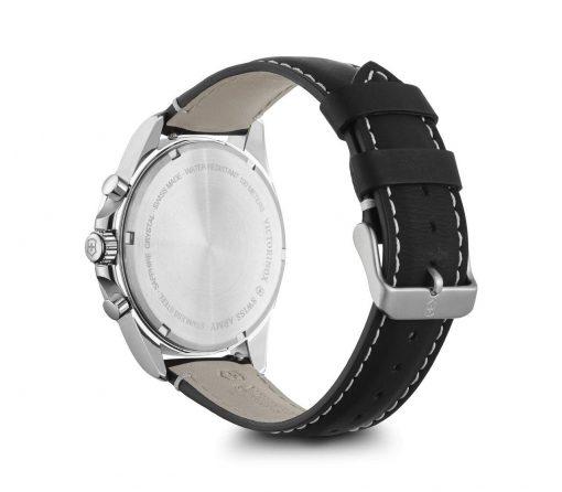 Victorinox - Fieldforce Chrono - Black Leather Strap Back Side Angled Left