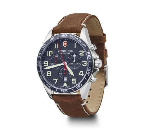 Victorinox - Fieldforce Chrono - Brown Leather Strap Front Side Left