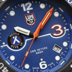 Luminox Bear Grylls Survival SEA Rule of 3 Limited Edition Black/Orange Watch Face Close Up