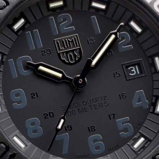 Luminox Original Navy SEAL Colormark 3051.GO.NSF Black/Black Watch Face Close Up