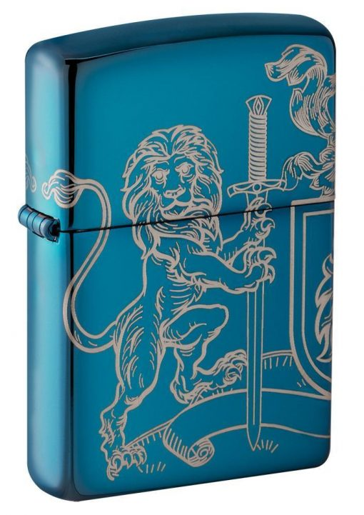 Zippo - Medieval Coat of Arms Design Lighter Front Side Closed Angled