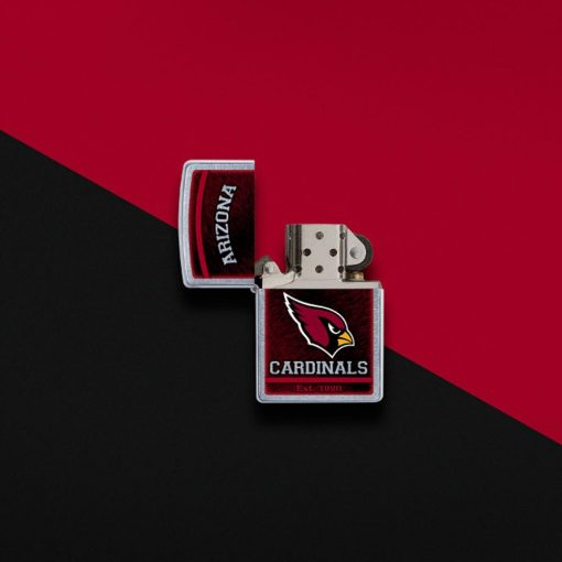 Zippo - NFL Arizona Cardinals Design Lighter Front Side Open With Color Background