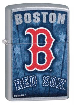 Zippo -MLB Boston Red Sox Design Lighter Front Side Closed Angled