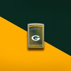 Zippo - NFL Green Bay Packers Design Lighter Front Side Closed With Color Background