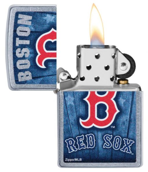 Zippo -MLB Boston Red Sox Design Lighter Front Side Open With Flame