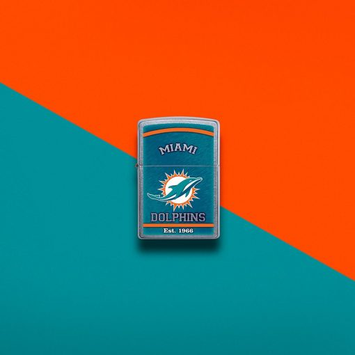 Zippo - NFL Miami Dolphins Design Lighter Front Side Closed With Colored Background