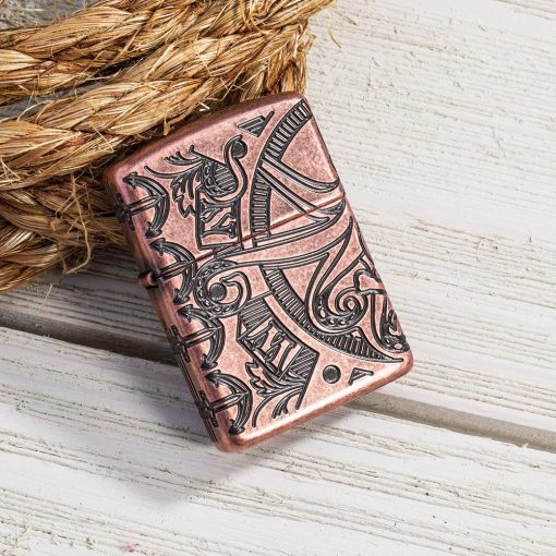 Zippo - Armor Antique Copper Nautical Scene Design Lighter Front Side Closed With Background