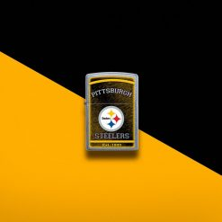 Zippo - NFL Pittsburgh Steelers Design Lighter Front Side Closed With Color Background
