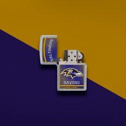 Zippo - NFL Baltimore Ravens Design Lighter Front Side With Color Background