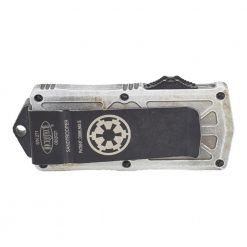 Microtech Exocet Sand Trooper D/E F/S T/E CA Legal OTF Automatic Distressed White Handle Back Side Closed