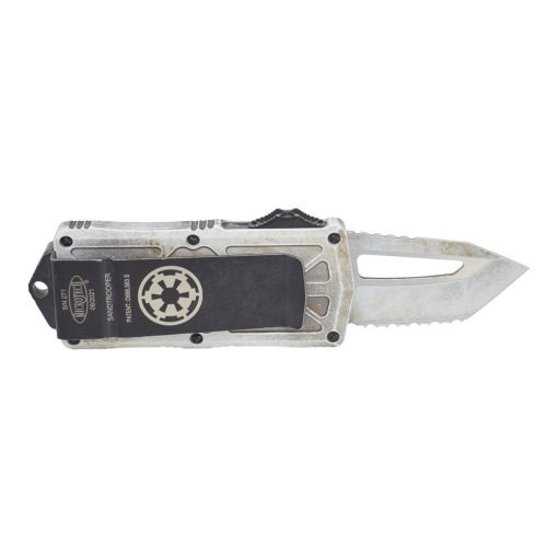 Microtech Exocet Sand Trooper D/E F/S T/E CA Legal OTF Automatic Distressed White Handle Back Side Open