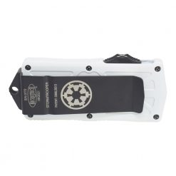 Microtech Exocet Storm Trooper CA Legal OTF Automatic Knife D/E F/S T/E White Blade White Handle Back Side Closed