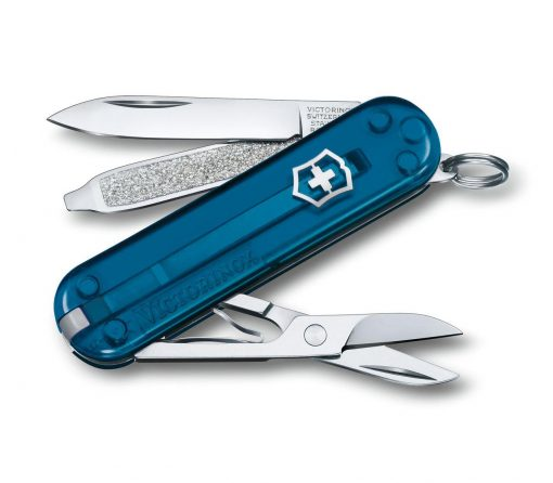 Victorinox Classic SD - Transparent Sky High Front Side Open