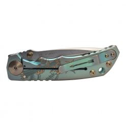 Spartan Blades Harsey Folder Stonewashed S45VN Blade 2021 Custom Green Custom God and Country Handle Back Side Closed 1
