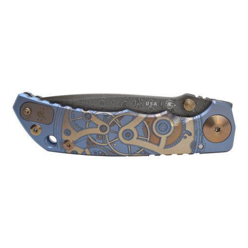 Spartan Blades Harsey Folder Damascus Blade Blue Custom Watch Works Titanium Handle Front Side Closed