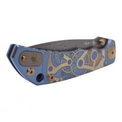 Spartan Blades Harsey Folder Damascus Blade Blue Custom Watch Works Titanium Handle Front Side Highlight