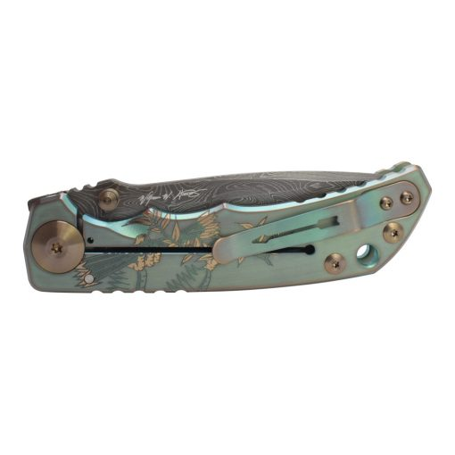 Spartan Blades Harsey Folder Damascus Blade 2021 Green Custom God and Country Handle Back Side Closed