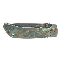 Spartan Blades Harsey Folder Damascus Blade 2021 Green Custom God and Country Handle Front Side Closed
