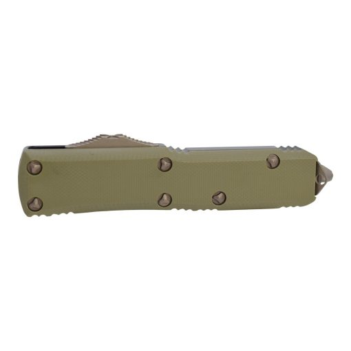 Microtech UTX-85 OTF Automatic Knife Apocalyptic Bronze D/E Blade OD Green G-10/Black Aluminum Handle Front Side Closed