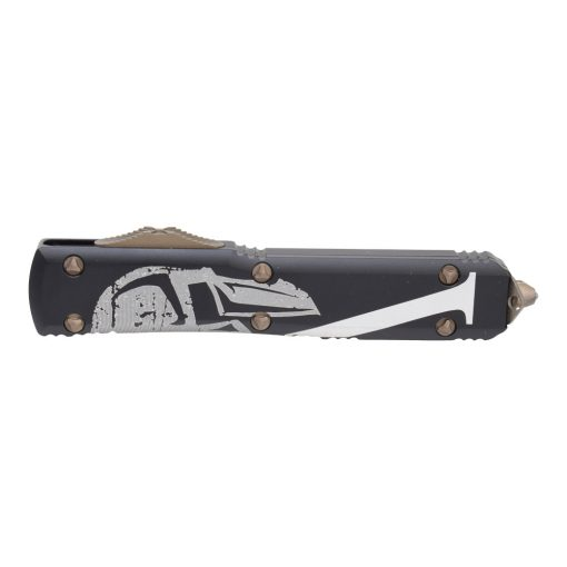 Microtech Signature Series Ultratech Molon Labe D/E Apocalyptic Bronze OTF Blade Black Aluminum Handle with Spartan Design Front Side Closed