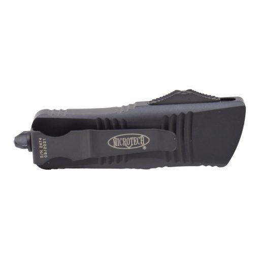 Microtech Mini Troodon D/E Black Blade Satin Flats CA Legal OTF Auto Black Handle Back Side Closed