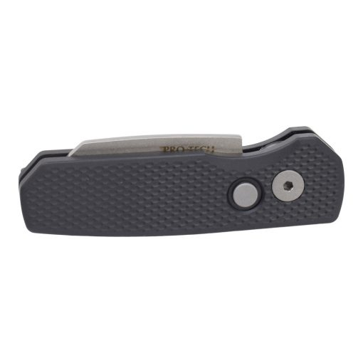 Protech Runt 5 Stonewashed 20CV Reverse Tanto Blade Black Textured Aluminum Handle Front Side CLosed