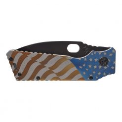 Medford Fat Daddy S35VN PVD Drop Point Blade Tumbled American Flag Titanium Handle Front Side Closed