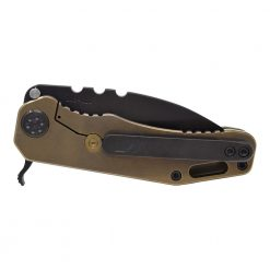 Medford 187 F PVD D2 Drop Point Blade OD Green G-10 Handle PVD Hardware Back Side Closed